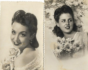 Two Vintage 1950s Black and White Spanish Postcards - Beautiful Young Woman