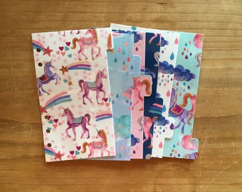 Unicorn Personal, pocket or A5 size dividers with top tabs or side tabs. Planner supplies / planner accessories / happy planner