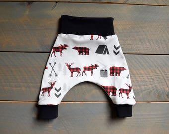 Buffalo Plaid Baby Harem Pants Organic, Deer Bear Moose Infant Harem Leggings, Woodland Take Home Outfit, Boy Pants Bear Deer