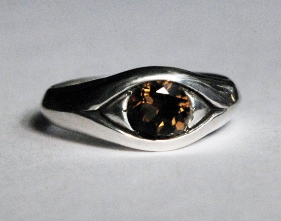 Large Sterling Silver and Smokey Quartz Eye Ring