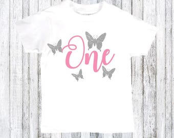 Butterfly shirt - butterfly theme - butterfly birthday party - First birthday shirt - first birthday party - birthday girl shirt