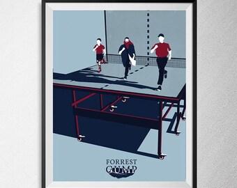 Forrest Gump print, Tom Hanks, Illustration, Minimal film poster, minimalist movie art, custom posters, film and movie print, film art.