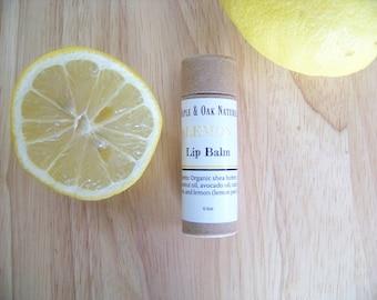 Lemon Lip Balm- Organic- Biodegradable Lip Balm- Ultra Hydrating- Tinted Lip Balm- Handcrafted