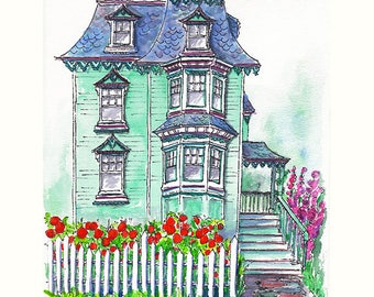 Gift Certificate Custom Illustrated Watercolor House Portrait