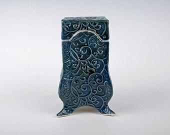 Ceramic box, steel blue, slab built, white stoneware, handmade pottery, creature feet, swirly pattern