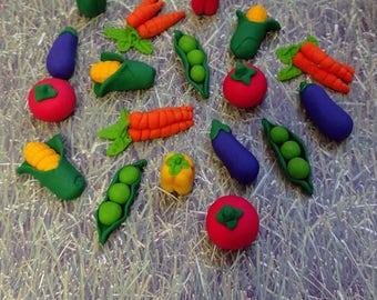 Vegetable Cake Topper - Veggie Cupcake Toppers - Garden Party
