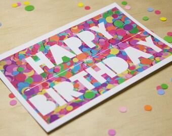 Happy Birthday Confetti Postcard