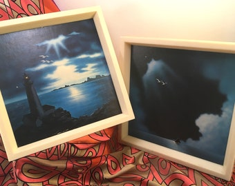 Retro 1970's framed prints on art board stormy seascapes sailboat seagulls lighthouse rocky shore dark cloudy sky Johnathon Living Seagull