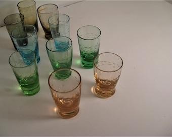 Ten Matching Shot Glasses - 10 Colored shot/Aperitif  Glasses - Ten 1960's Shot Glasses - Set of 10 Shot Glasses