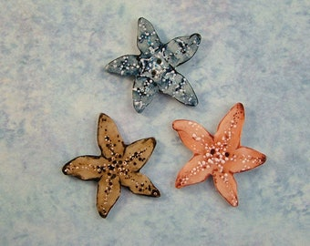 Colorful Starfish Button set of 3