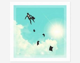 FALLING UP (Giclée Fine Art Print/Photo Print/Poster Print) Surreal, Minimal Wall art