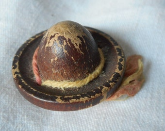 Large VINTAGE Realistic Painted Wood Hat BUTTON