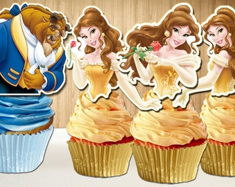 Beauty and the Beast Cupcake Toppers, Princess Belle Cupcake Topper, Belle Cupcake Picks,  DIY Printable, INSTANT DOWNLOAD