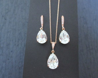 NEW Rose Gold Bridesmaid Jewelry/Rose Gold Earrings/Bridesmaid/Rose Gold Necklace/Swarovski Crystal Earrings/Rose Gold Swarovski Earrings