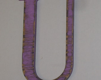 Wood Letter U 12-inch Distressed Letter  Wall Hanging Monogram Initial