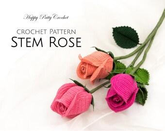 Crochet Rose Pattern - Crochet Flower Pattern for a Stem Rose - Crochet Pattern for Bouquets and Arrangements