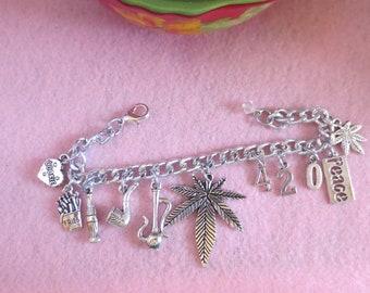 Weed charm bracelet