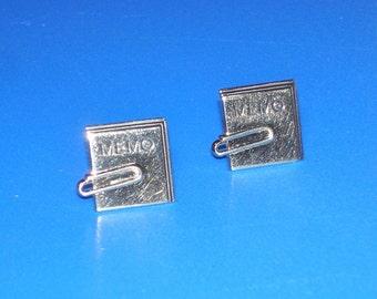 Vintage Swank Goldtone Memo Paperclip Cuff Links