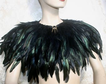 HALLOWEEN FEATHER CAPE, black feather capelet, feather cape, bridal shawl, feather shawl, gothic wedding, feather collar, feather shrug,