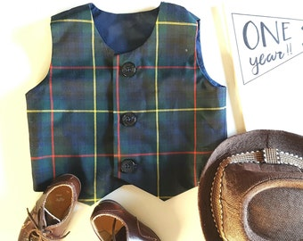 Toddler boys waistcoat vest, navy tartan checked, photo prop, wedding, ring bearer, boys smart plaid clothing Ready to ship size 12months
