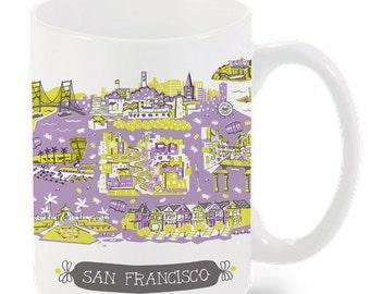 San Francisco Mug-City Mug-Coffee-Tea-Kitchen-California Mug-Custom Mug Packaging-City Mug Gift Box-Personalized-Custom