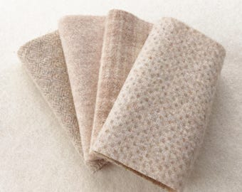 """Hand Felted Wool, BISCOTTI, Light Neutral Textures, Four 6.5"""" x 16"""" pieces for Rug Hooking, Applique and Crafts"""