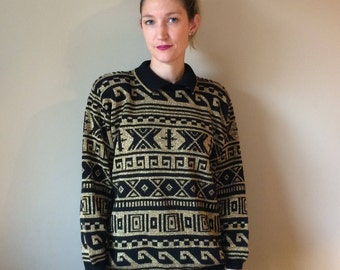 Gold and Black All Over Print Metallic Knit Sweater