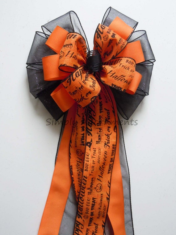 Spooky Orange Black Halloween Scripts Bow Trick or Treat Halloween Wreath Bow Haunted Halloween Home Decor Halloween Wired Ribbon Bow