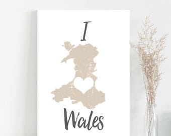 Map of Wales print - Welsh wall art map poster mapping art print - Wales Cymru map art typography mapping poster