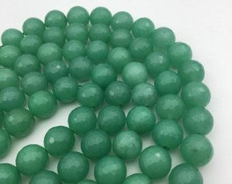 """Aventurine Jade Faceted Round Gemstone Loose Beads Size 12mm Approx 15.5"""" Long per Strand"""