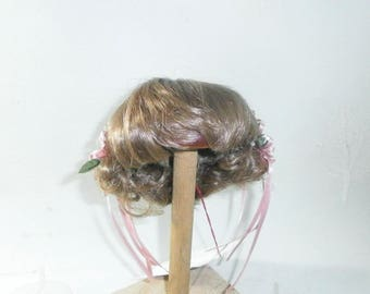 "Glorex doll wig, blond, braids pinned up at the back with flowers/10"" to 10.5""/Vintage/Switzerland"