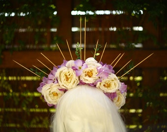 Spellcaster - Spiked Floral Headdress / Festival Headdress / Flower Crown / Spiked Halo / Flower Halo / Costume / Headpiece
