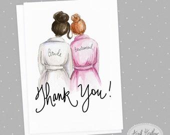 Thank you! Bridesmaid Card: PDF Dark Brunette Bride and Red-Head Bridesmaid, Thank you card PDF printable card
