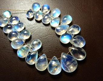 Rainbow Moonstone Beads Rainbow Moonstone Briolette Smooth Pear Drops  27Pc - 50Ct  AAA High Quality Blue  100% Natural