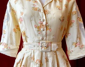 Beautiful! 1950s Julie Miller Buttercup Yellow Cotton Floral Print Dress with Original Belt