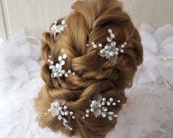 Wedding Hair Pins,Bridal Hair Accessories, Silver Bridal Hair Pins, Silver Hairpins Bridal Headpieces, Wedding hair clips hairpin