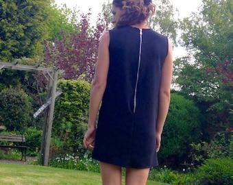 Shift dress, handmade, jersey, relaxed, exposed zip, dipped hem.