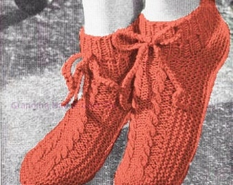 Knitting Pattern - Boot Slipper Shoes Pattern - PDF Instant Download - Tassel Draw String House Slippers - Digital Pattern Vintage Fashion