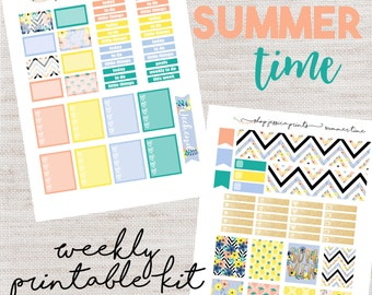 Summer Time PRINTABLE Sticker Kit / Fits Erin Condren Vertical Life Planner