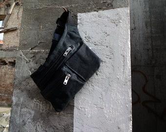 Black Hip Pouch Hip Bag Waxed Canvas  Waist Pack Festival BAg Fanny Pack