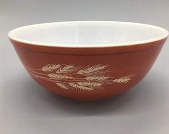 Vintage Pyrex #404 Autumn Harvest Wheat Pattern Mixing Bowl 4 Qt. Vintage Pyrex Cinderella Bowl.