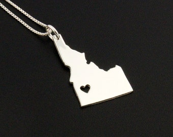 Idaho necklace sterling silver Idaho state necklace with heart comes Italian Box chain name engraving jewelry - personalize hometown gift