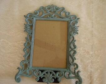 Vintage Aqua Distressed Metal PICTURE FRAME/