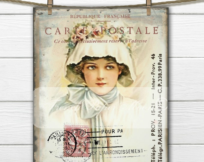 Shabby Victorian Digital Lady with French Postcard Graphics, Digital Postcard, Shabby Victorian Pillow Transfer Graphic Printable