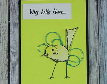 Handcrafted Yellow Bird Hello There card--CB81217-37