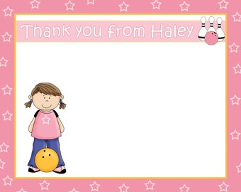 20 Bowling Birthday Party Thank You Cards   - GIRL - Pink Bowling Party - Girls Bowling Party Thank You Cards - Any Age