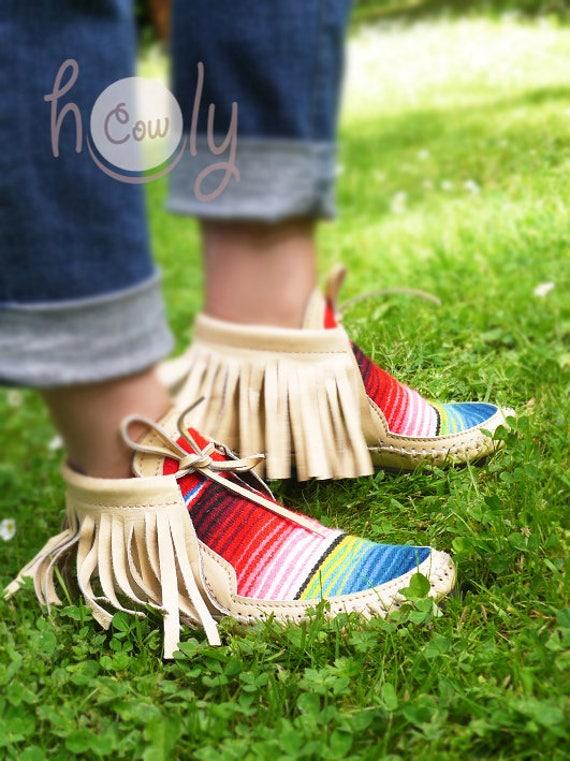 Moccasins Boots Boots Beige Hippie Beige Leather Serape Moccasins Womens Serape Womens Boots Moccasins Boots Mens Beige Beige Leather qpWEHH