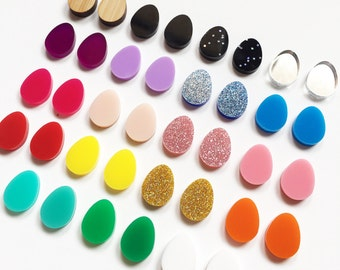 Acrylic / perspex laser cut earrings easter egg studs - multiple colour color