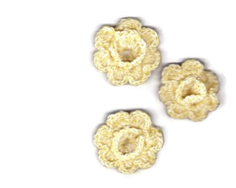 3 crocheted yellow appliqué flowers
