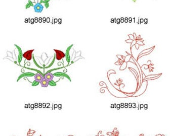 Garden-Florals 4x4 5x7 ( 10 Machine Embroidery Designs from ATW ) XYZ17D